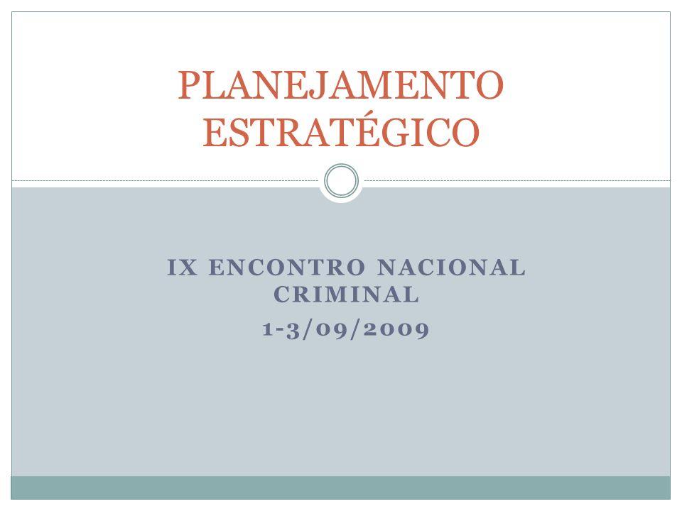 IX ENCONTRO NACIONAL CRIMINAL 1-3/09/2009 PLANEJAMENTO ESTRATÉGICO