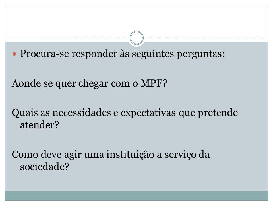 Procura-se responder às seguintes perguntas: Aonde se quer chegar com o MPF? Quais as necessidades e expectativas que pretende atender? Como deve agir
