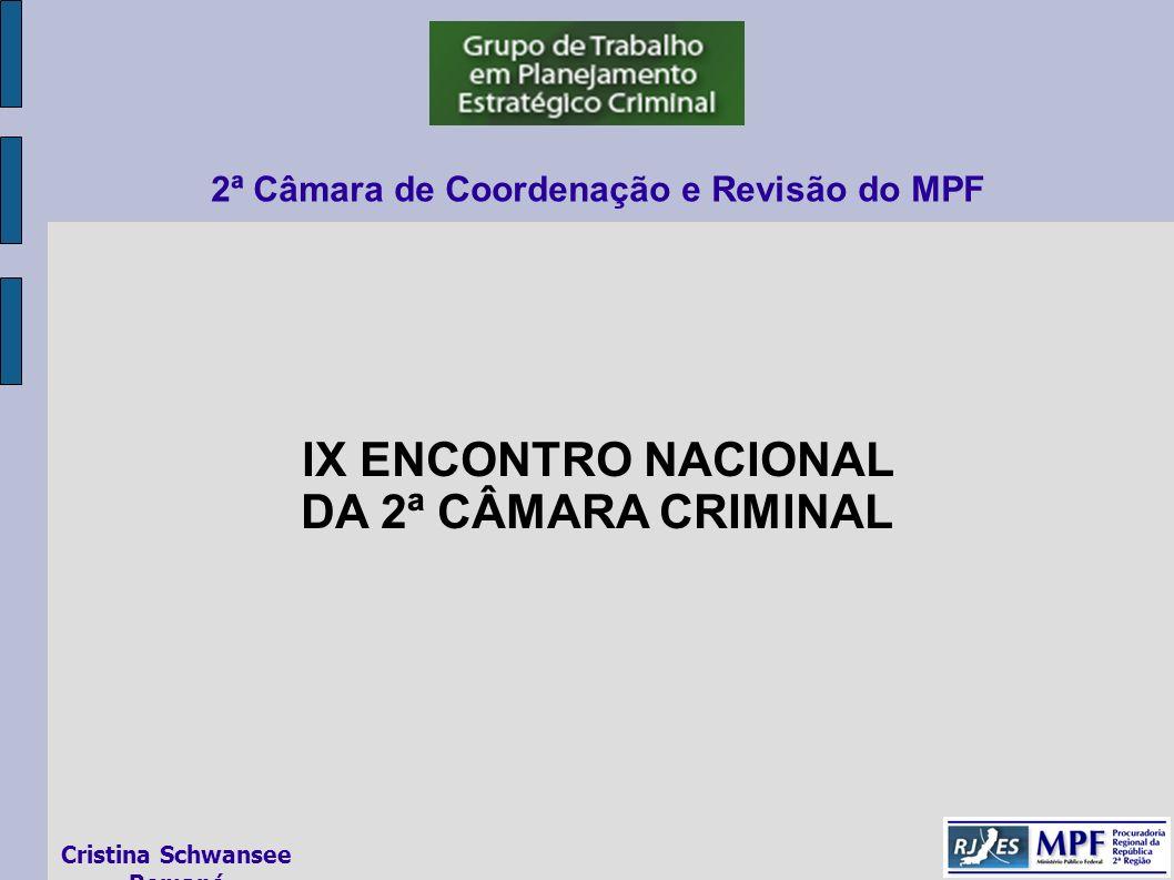 IX ENCONTRO NACIONAL DA 2ª CÂMARA CRIMINAL 2ª Câmara de Coordenação e Revisão do MPF Cristina Schwansee Romanó