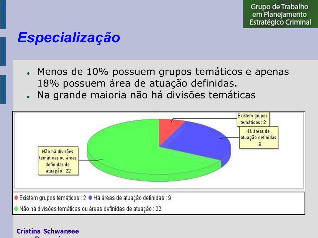 Menos de 10% possuem grupos temáticos e apenas 18% possuem área de atuação definidas.