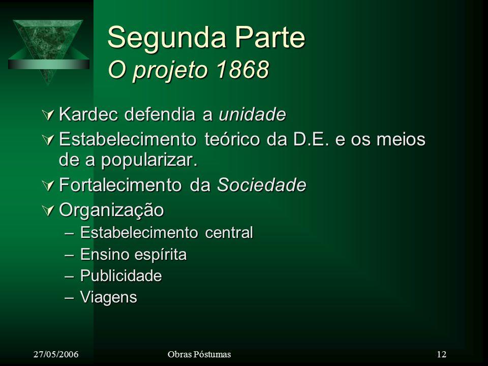27/05/2006Obras Póstumas 12 Segunda Parte O projeto 1868 Kardec defendia a unidade Kardec defendia a unidade Estabelecimento teórico da D.E.