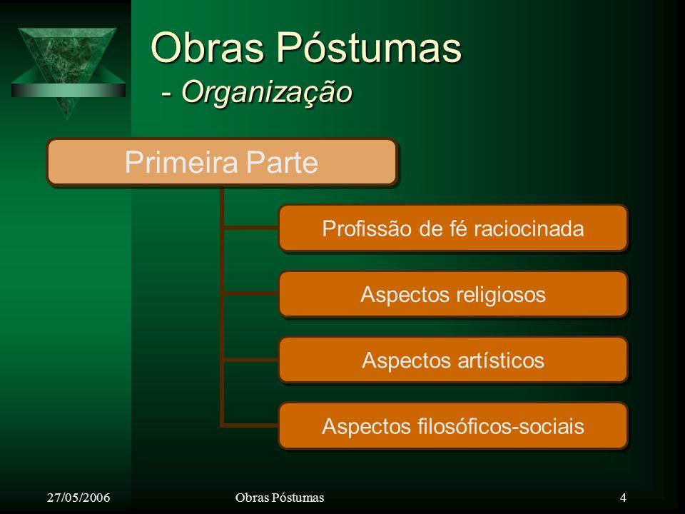 27/05/2006Obras Póstumas 5 Obras Póstumas - Organização Segunda Parte Histórico da iniciação de Kardec no Espiritismo e da formação da D.E.