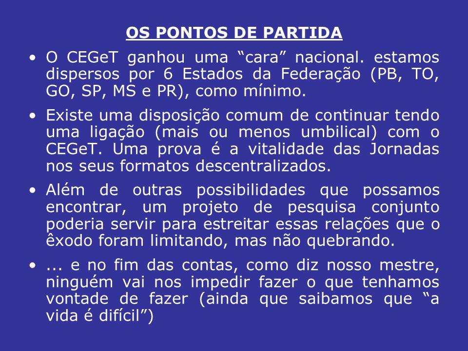 OS PONTOS DE PARTIDA O CEGeT ganhou uma cara nacional.
