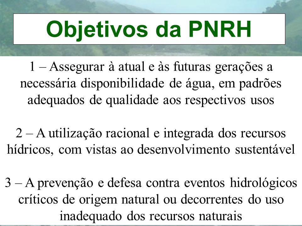 Objetivos da PNRH 1 – Assegurar à atual e às futuras gerações a necessária disponibilidade de água, em padrões adequados de qualidade aos respectivos
