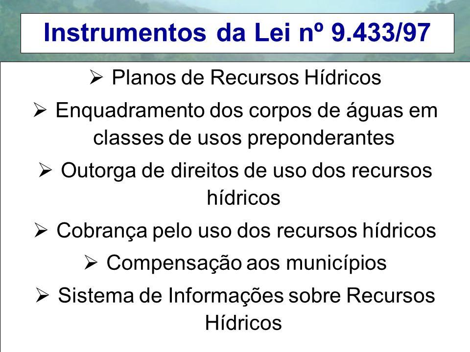 Instrumentos da Lei nº 9.433/97 Planos de Recursos Hídricos Enquadramento dos corpos de águas em classes de usos preponderantes Outorga de direitos de