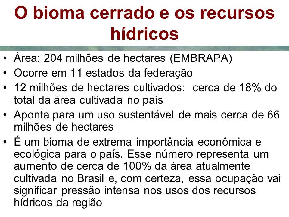 O bioma cerrado e os recursos hídricos Área: 204 milhões de hectares (EMBRAPA) Ocorre em 11 estados da federação 12 milhões de hectares cultivados: ce