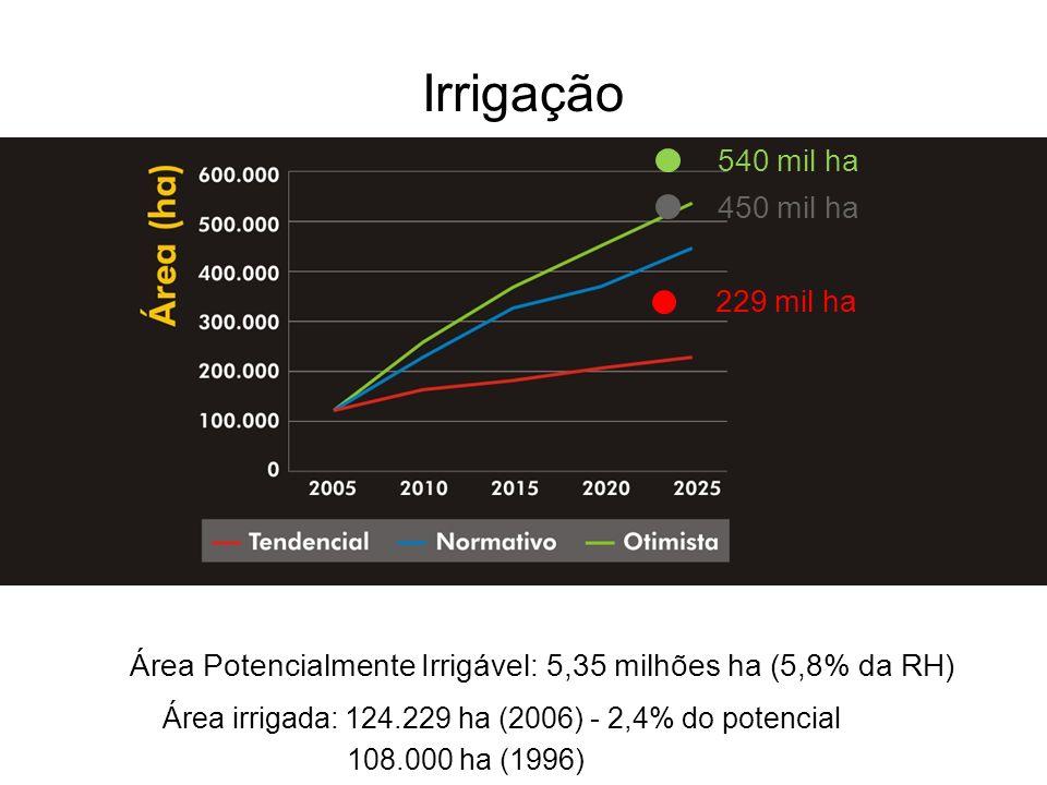540 mil ha 450 mil ha 229 mil ha Irrigação Área Potencialmente Irrigável: 5,35 milhões ha (5,8% da RH) Área irrigada: 124.229 ha (2006) - 2,4% do pote