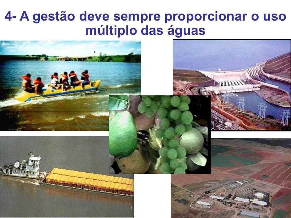 5- A bacia hidrográfica é a unidade territorial para a implementação da PNRH e atuação do SINGREH 6- A gestão dos recursos hídricos deve ser descentralizada, e contar com a participação do Poder Público, dos usuários e das comunidades