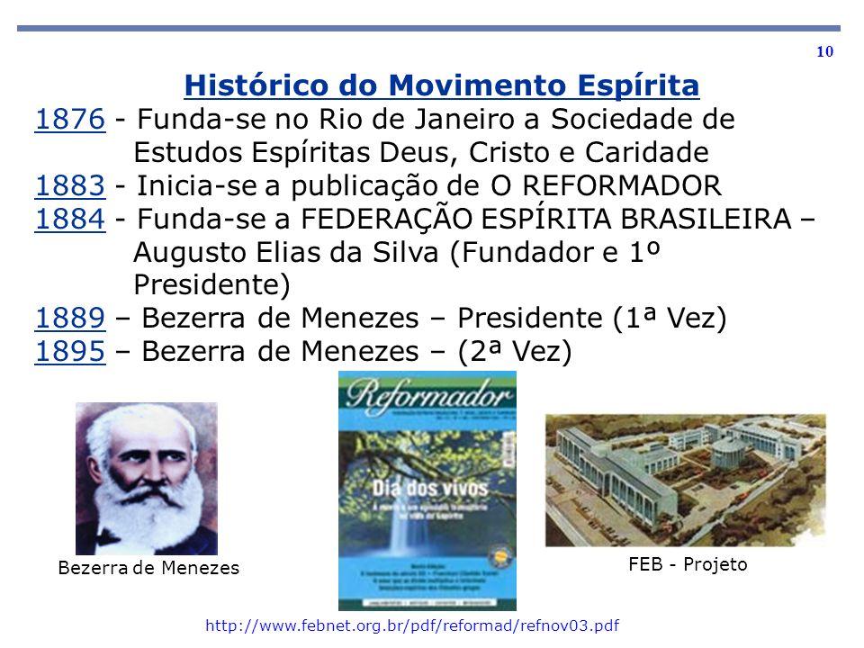 10 1876 - Funda-se no Rio de Janeiro a Sociedade de Estudos Espíritas Deus, Cristo e Caridade 1883 - Inicia-se a publicação de O REFORMADOR 1884 - Fun
