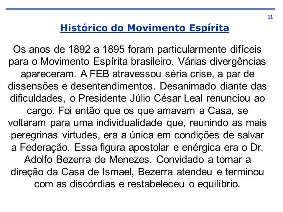 11 Os anos de 1892 a 1895 foram particularmente difíceis para o Movimento Espírita brasileiro. Várias divergências apareceram. A FEB atravessou séria