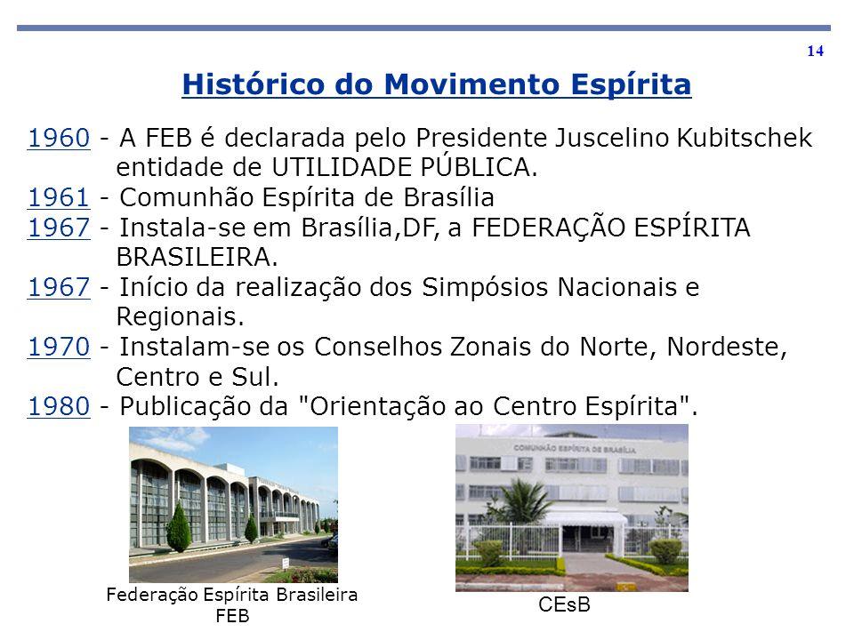 14 1960 - A FEB é declarada pelo Presidente Juscelino Kubitschek entidade de UTILIDADE PÚBLICA. 1961 - Comunhão Espírita de Brasília 1967 - Instala-se