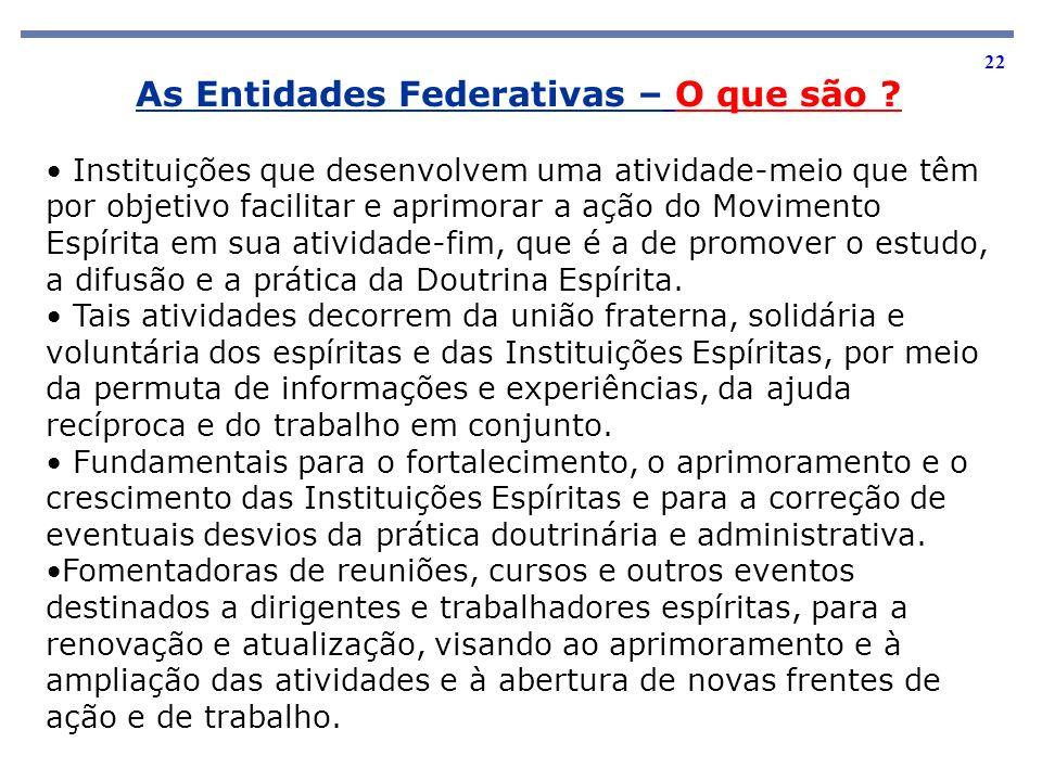 22 As Entidades Federativas – O que são ? Instituições que desenvolvem uma atividade-meio que têm por objetivo facilitar e aprimorar a ação do Movimen