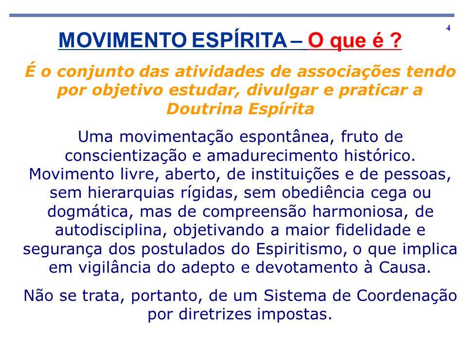 4 MOVIMENTO ESPÍRITA – O que é ? É o conjunto das atividades de associações tendo por objetivo estudar, divulgar e praticar a Doutrina Espírita Uma mo