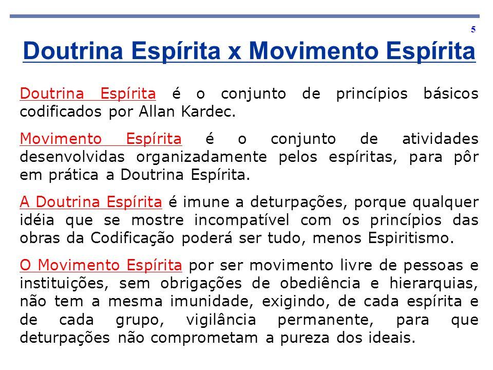 5 Doutrina Espírita x Movimento Espírita Doutrina Espírita é o conjunto de princípios básicos codificados por Allan Kardec. Movimento Espírita é o con
