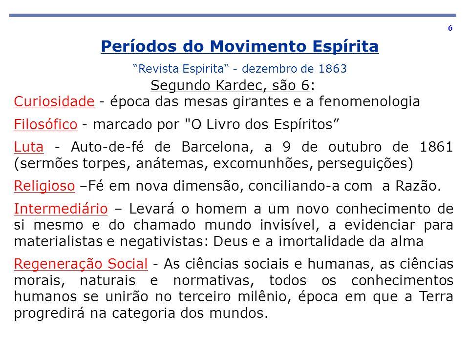 6 Períodos do Movimento Espírita Revista Espirita - dezembro de 1863 Segundo Kardec, são 6: Curiosidade - época das mesas girantes e a fenomenologia F