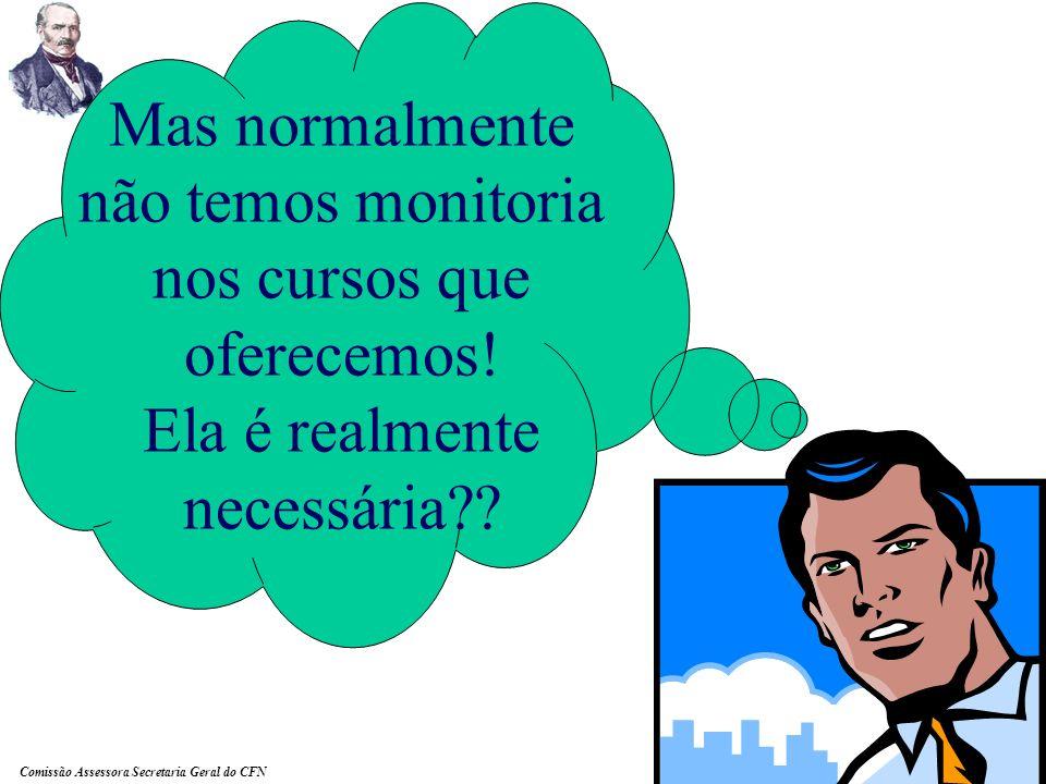 Comissão Assessora Secretaria Geral do CFN O monitor deve responder de forma ágil a demanda do cursista.