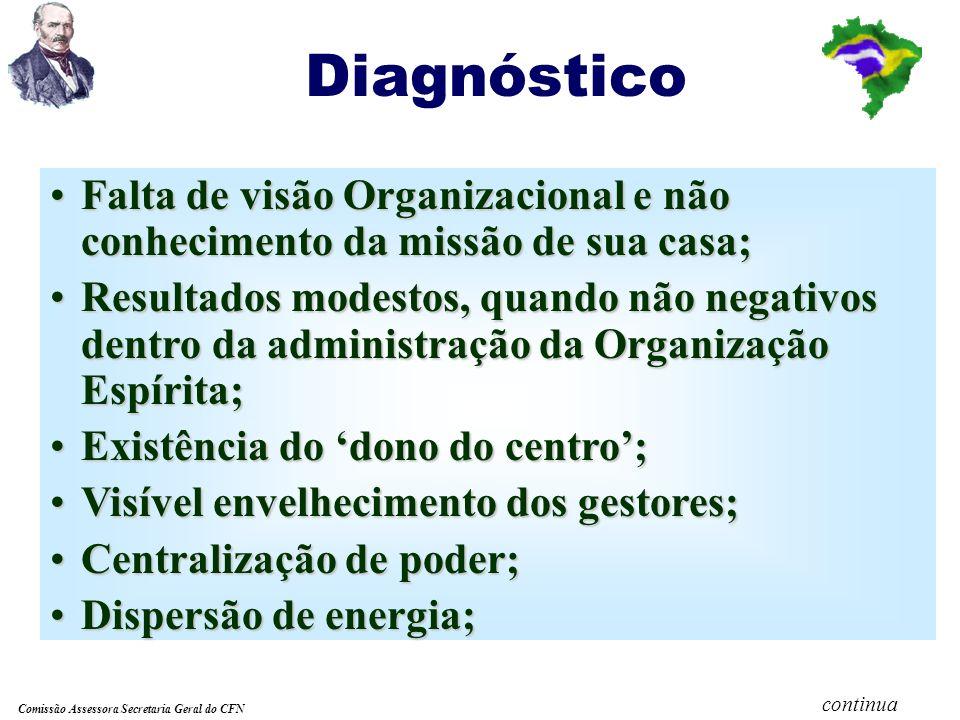 Comissão Assessora Secretaria Geral do CFN Realidade Brasileira Pessoas munidas de boa vontade, as vezes pouco preparadas para assumir as funções de dirigentes nas atividades das casas espíritas.
