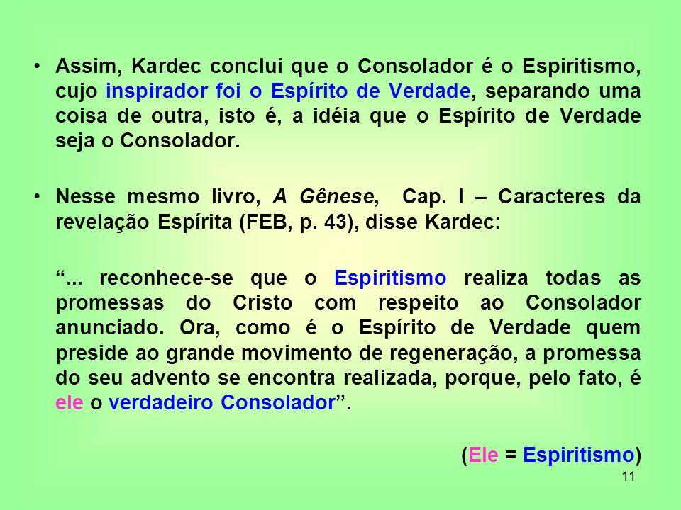 11 Assim, Kardec conclui que o Consolador é o Espiritismo, cujo inspirador foi o Espírito de Verdade, separando uma coisa de outra, isto é, a idéia qu