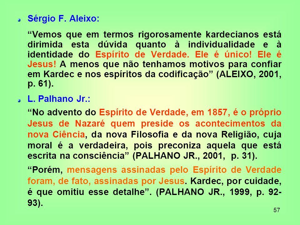 57 Sérgio F. Aleixo: Vemos que em termos rigorosamente kardecianos está dirimida esta dúvida quanto à individualidade e à identidade do Espírito de Ve