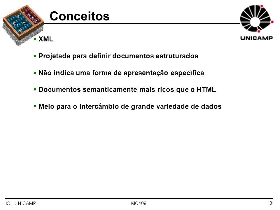 IC - UNICAMP MO4094 Conceitos XML e banco de dados Auto-descritivo Portável (unicode) Capacidade de organizar dados de forma estruturada Porém, Excesso de texto Acesso lento (necessidade de pré-processamento) XML e Sistema de Gerenciamento de Banco de Dados (SGBD) Armazenamento (o próprio documento) Esquemas (DTD, XML Schema) Linguagens para consulta (XQuery, XPath) Interfaces de programação (SAX, DOM) Porém, Transações Acesso concorrente Segurança Integridade de dados, etc.