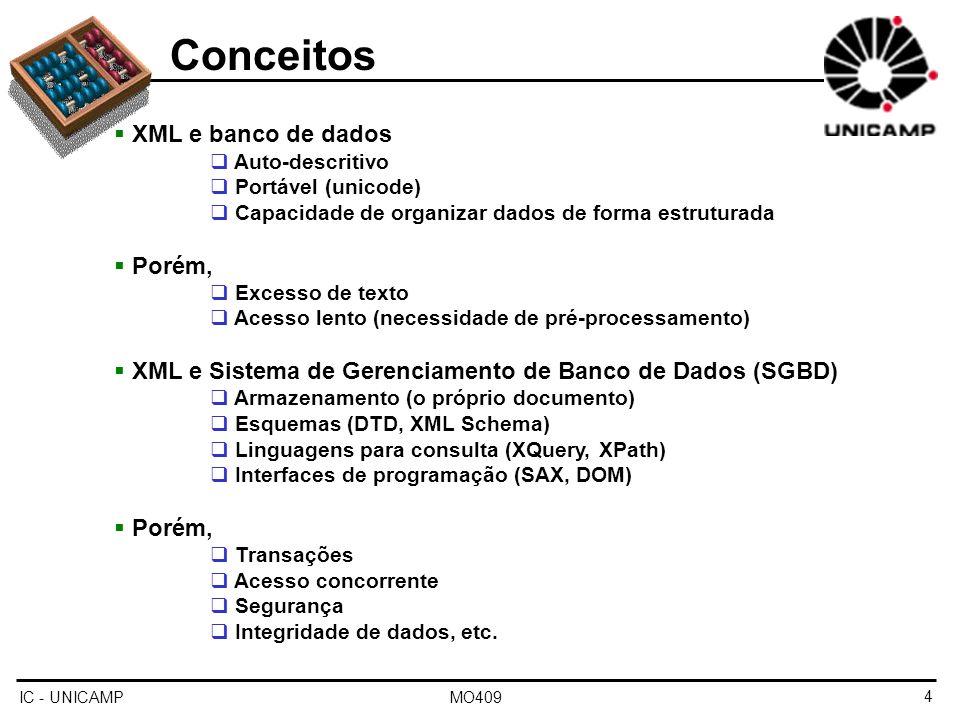 IC - UNICAMP MO4095 Conceitos Bancos de dados XML Forma eficiente de armazenar e consultar documentos XML Bancos de dados XML nativos Documento como unidade fundamental de armazenamento Define um modelo