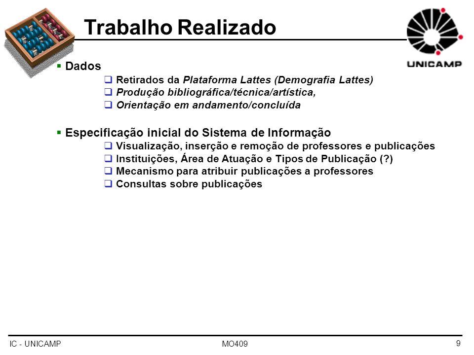 IC - UNICAMP MO4099 Trabalho Realizado Dados Retirados da Plataforma Lattes (Demografia Lattes) Produção bibliográfica/técnica/artística, Orientação e