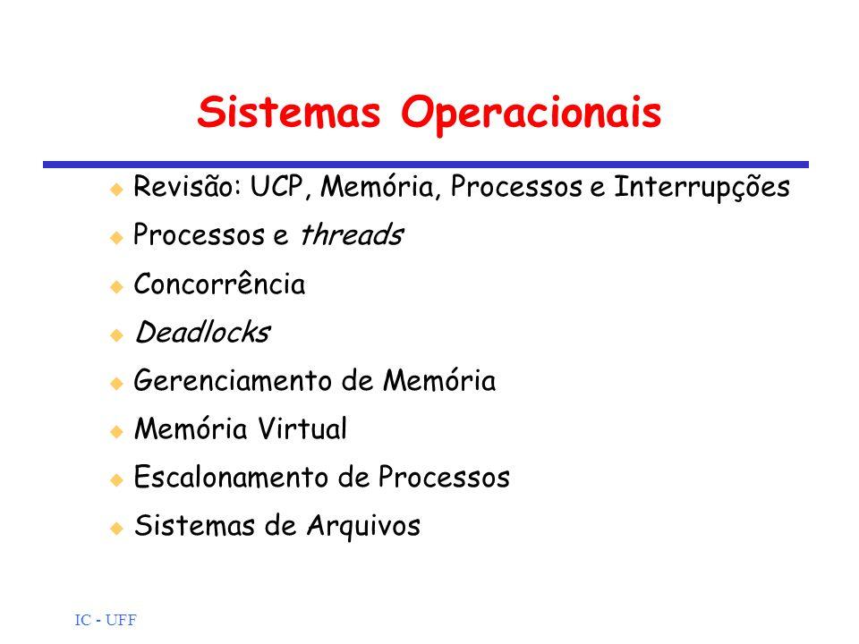 IC - UFF Sistemas Operacionais Revisão: UCP, Memória, Processos e Interrupções Processos e threads Concorrência Deadlocks Gerenciamento de Memória Mem