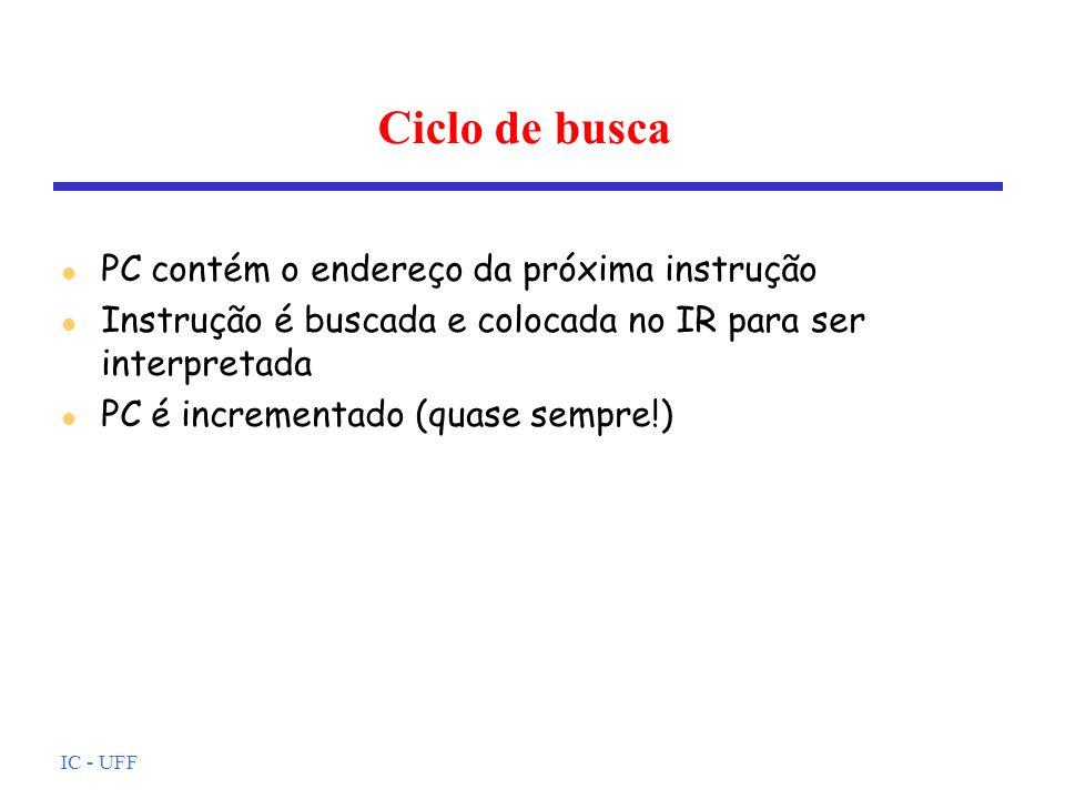 IC - UFF Ciclo de busca l PC contém o endereço da próxima instrução l Instrução é buscada e colocada no IR para ser interpretada l PC é incrementado (
