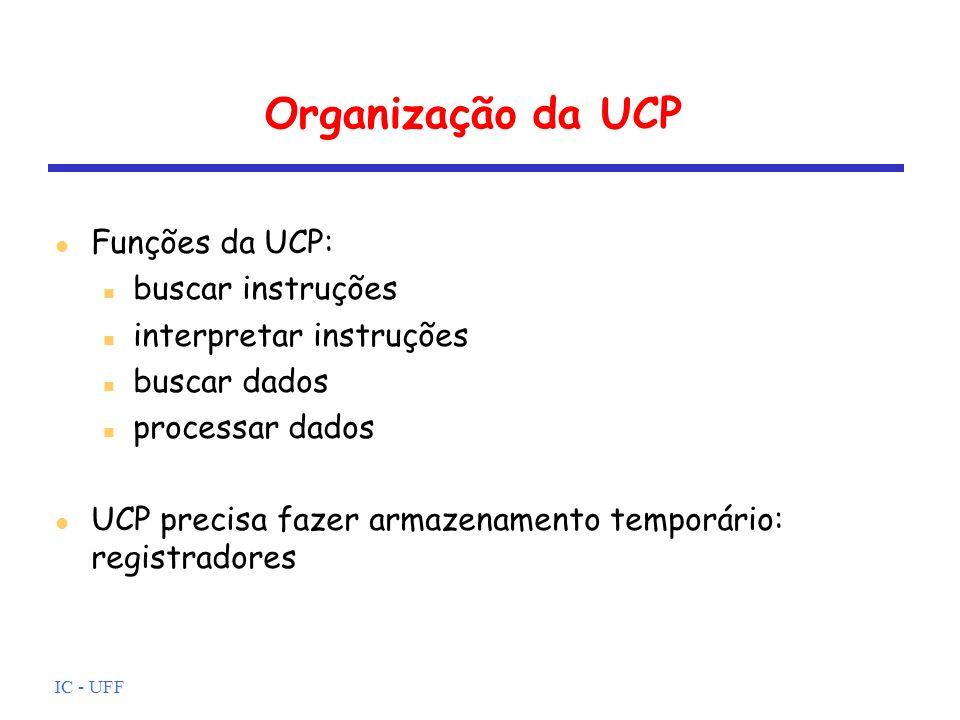 IC - UFF Organização da UCP l Funções da UCP: n buscar instruções n interpretar instruções n buscar dados n processar dados l UCP precisa fazer armaze