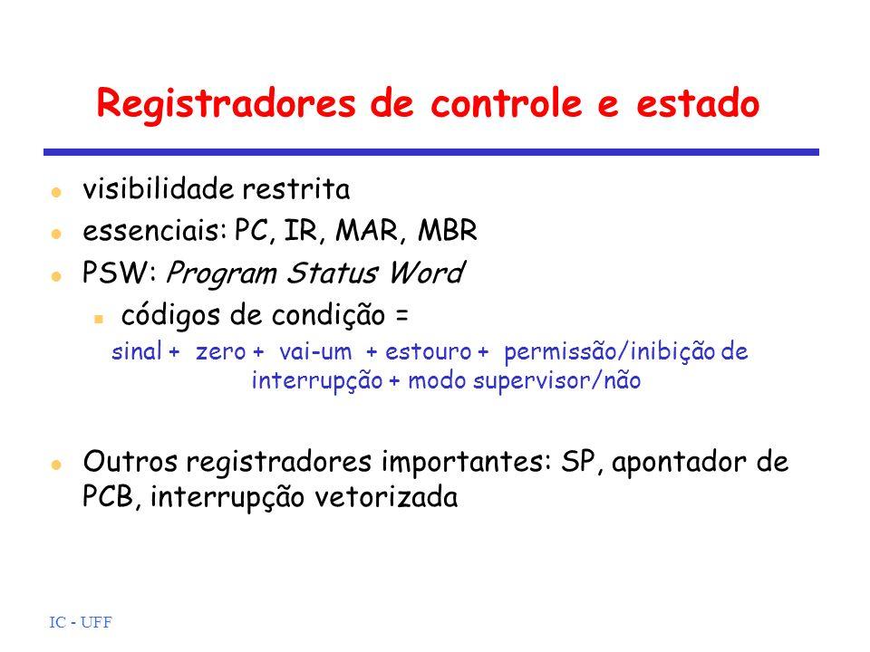 IC - UFF Registradores de controle e estado l visibilidade restrita l essenciais: PC, IR, MAR, MBR l PSW: Program Status Word n códigos de condição =