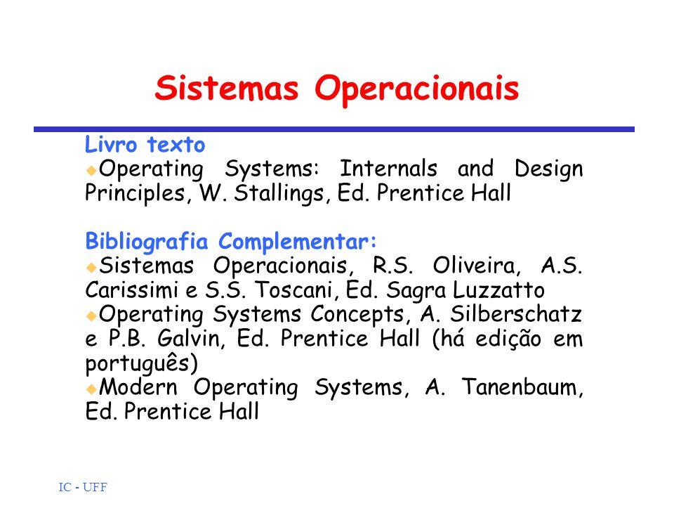 IC - UFF Sistemas Operacionais Livro texto Operating Systems: Internals and Design Principles, W. Stallings, Ed. Prentice Hall Bibliografia Complement