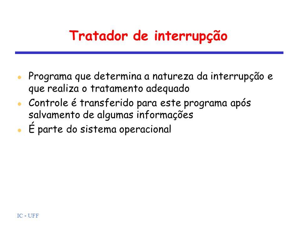 IC - UFF Tratador de interrupção l Programa que determina a natureza da interrupção e que realiza o tratamento adequado l Controle é transferido para