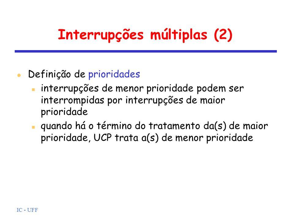 IC - UFF Interrupções múltiplas (2) l Definição de prioridades n interrupções de menor prioridade podem ser interrompidas por interrupções de maior pr
