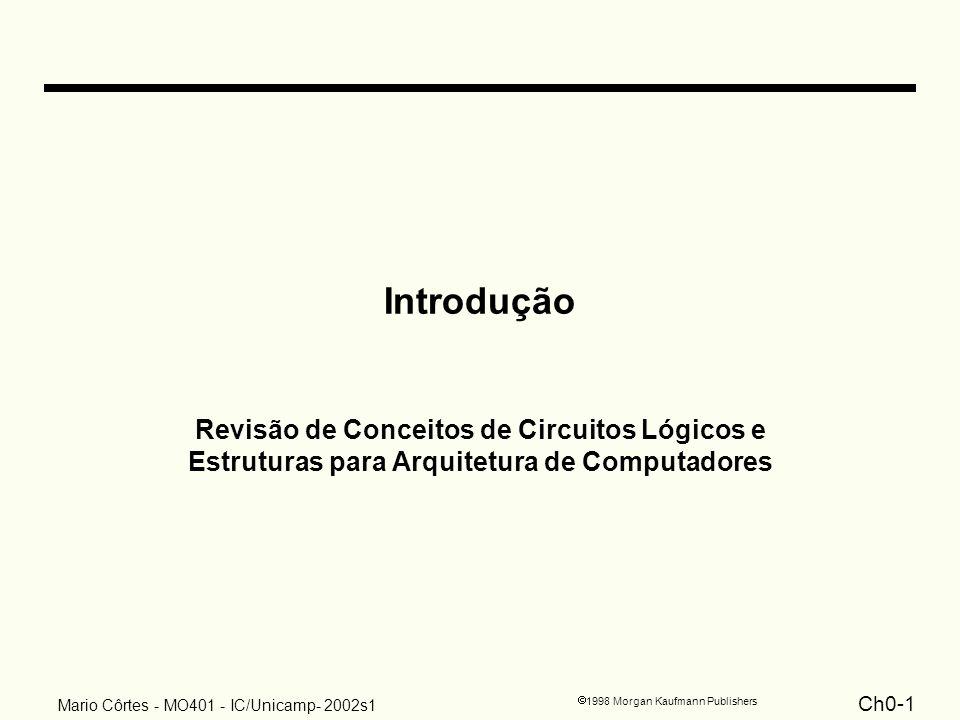 Ch0-1 1998 Morgan Kaufmann Publishers Mario Côrtes - MO401 - IC/Unicamp- 2002s1 Introdução Revisão de Conceitos de Circuitos Lógicos e Estruturas para