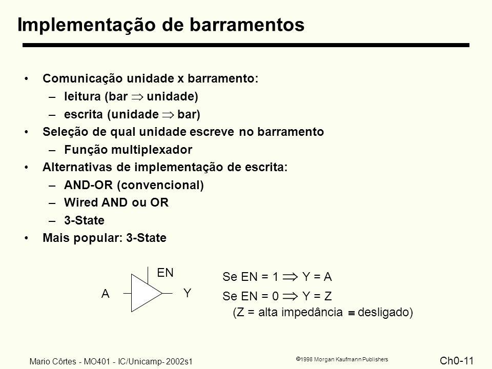 Ch0-11 1998 Morgan Kaufmann Publishers Mario Côrtes - MO401 - IC/Unicamp- 2002s1 Implementação de barramentos Comunicação unidade x barramento: –leitu