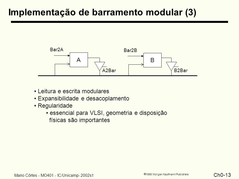 Ch0-13 1998 Morgan Kaufmann Publishers Mario Côrtes - MO401 - IC/Unicamp- 2002s1 Implementação de barramento modular (3) B2BarA2Bar A Bar2A B Bar2B Le