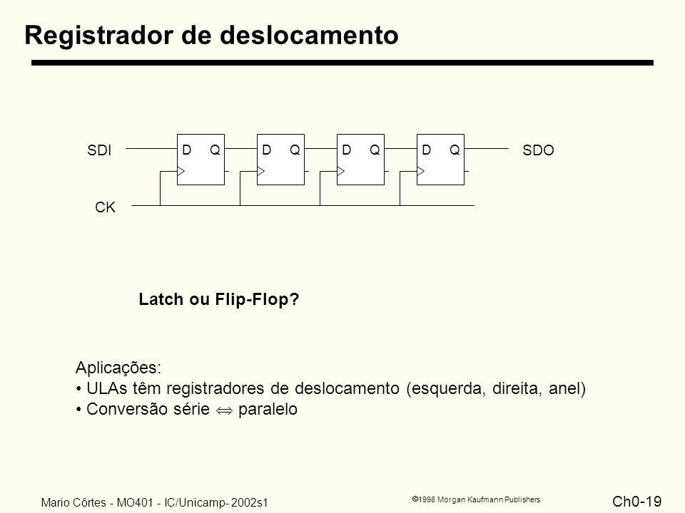 Ch0-19 1998 Morgan Kaufmann Publishers Mario Côrtes - MO401 - IC/Unicamp- 2002s1 Registrador de deslocamento DQDQDQDQ SDISDO CK Latch ou Flip-Flop? Ap
