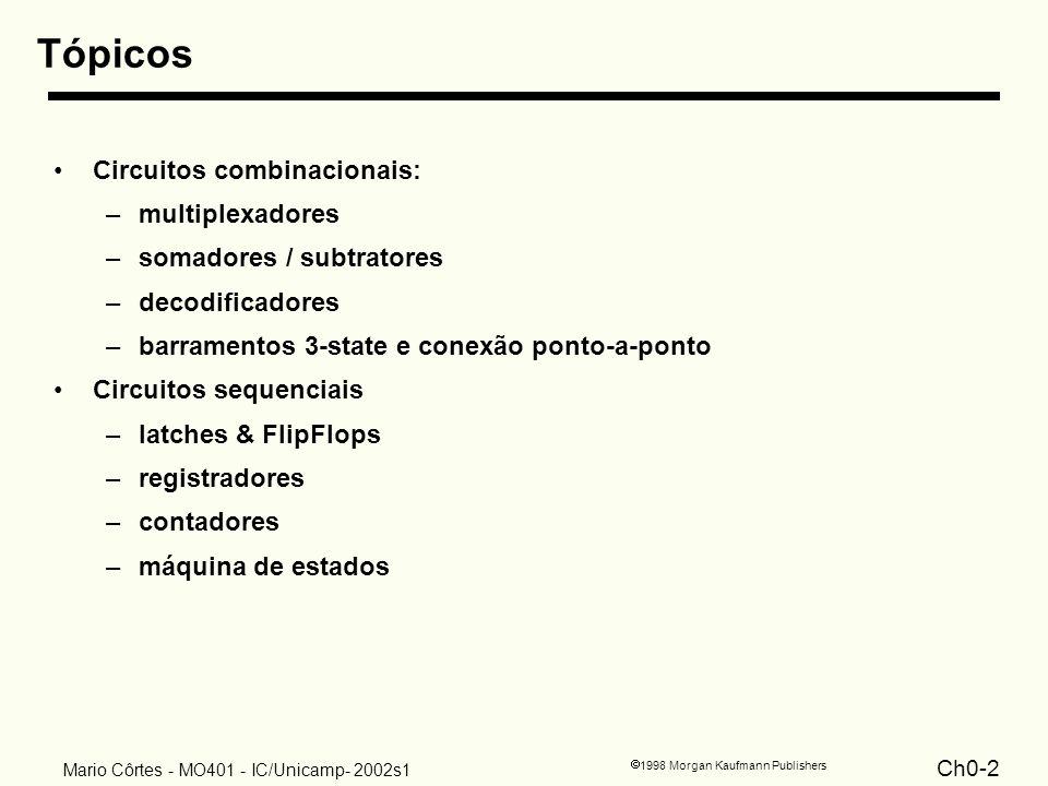 Ch0-2 1998 Morgan Kaufmann Publishers Mario Côrtes - MO401 - IC/Unicamp- 2002s1 Tópicos Circuitos combinacionais: –multiplexadores –somadores / subtra