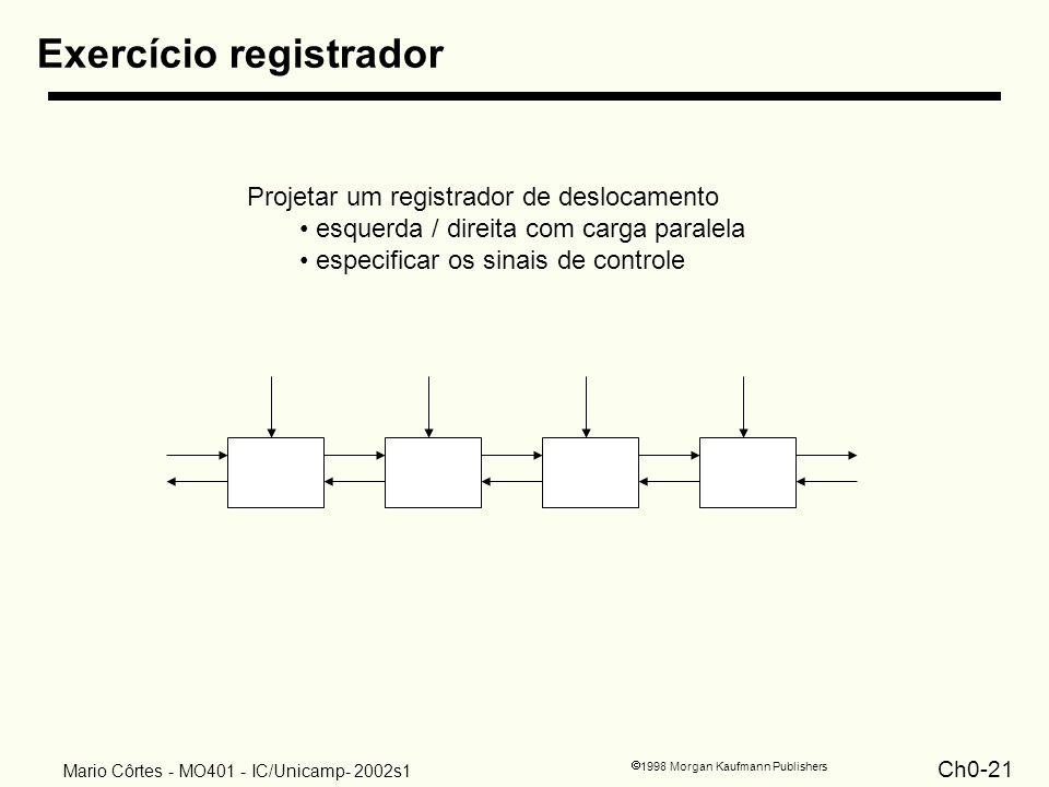 Ch0-21 1998 Morgan Kaufmann Publishers Mario Côrtes - MO401 - IC/Unicamp- 2002s1 Exercício registrador Projetar um registrador de deslocamento esquerd