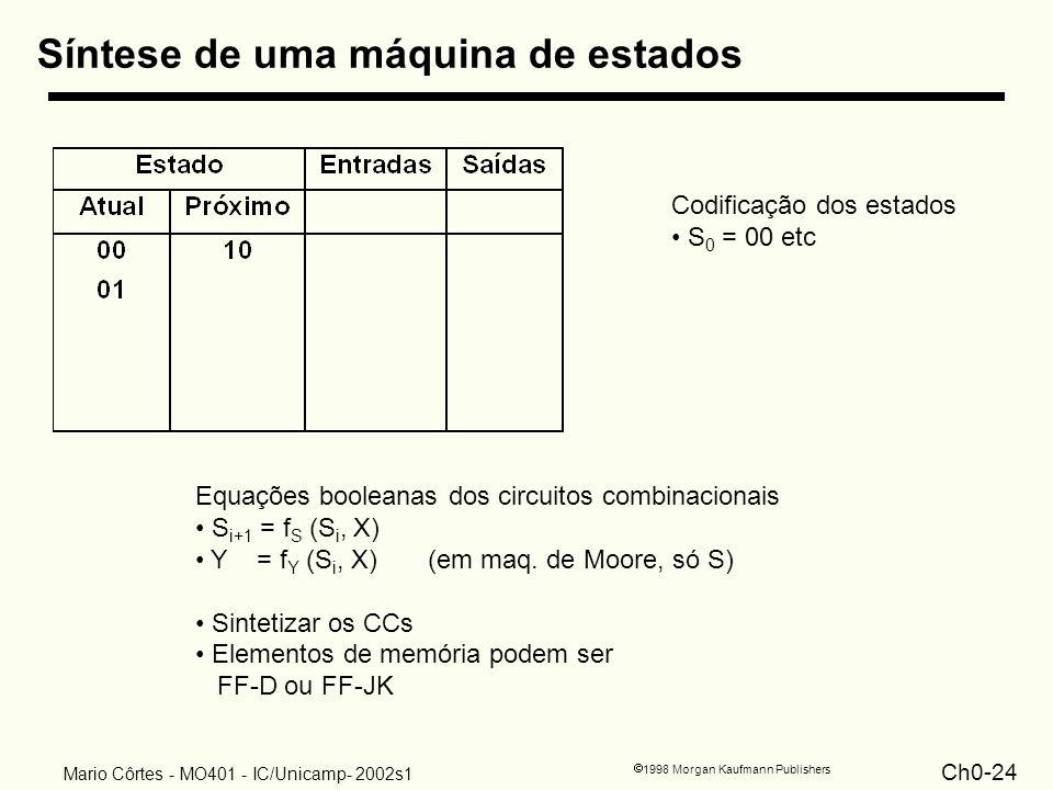 Ch0-24 1998 Morgan Kaufmann Publishers Mario Côrtes - MO401 - IC/Unicamp- 2002s1 Síntese de uma máquina de estados Codificação dos estados S 0 = 00 et