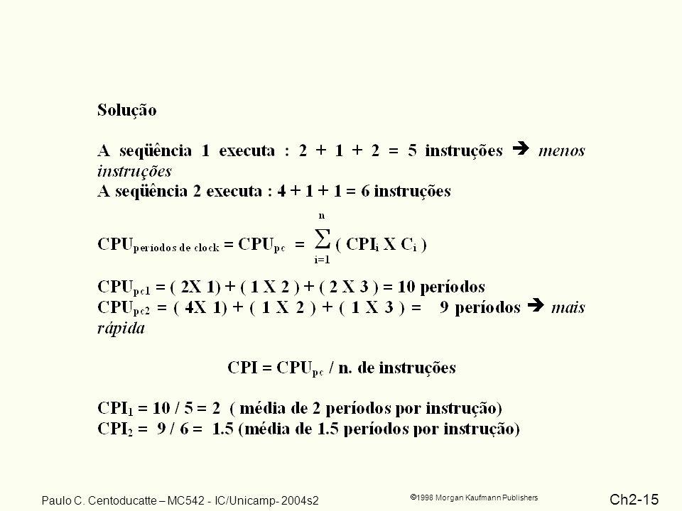 Ch2-15 1998 Morgan Kaufmann Publishers Paulo C. Centoducatte – MC542 - IC/Unicamp- 2004s2