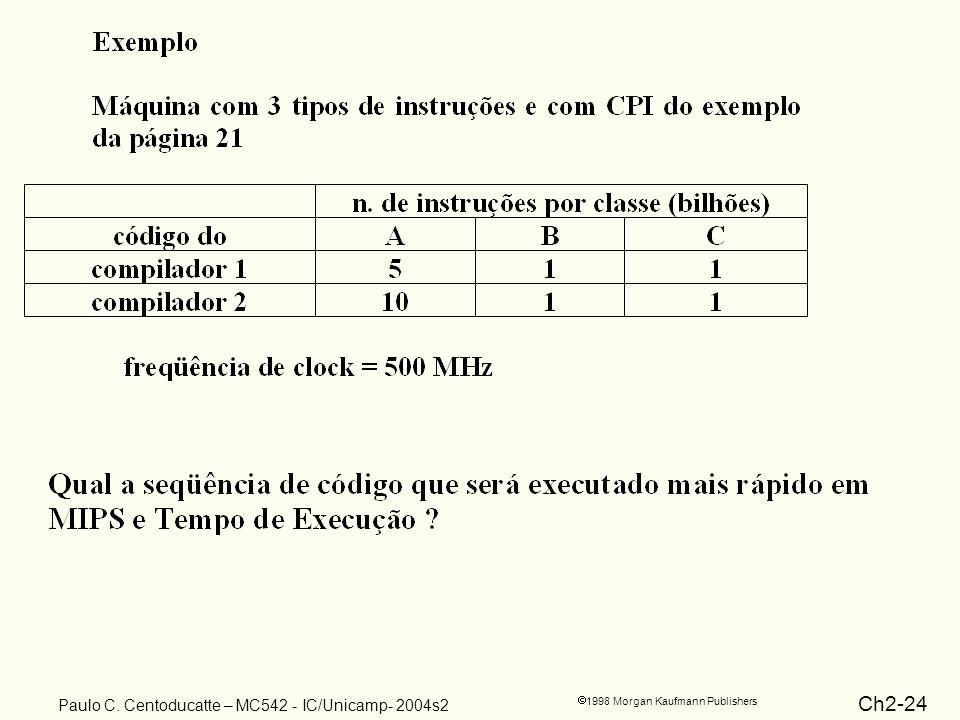 Ch2-24 1998 Morgan Kaufmann Publishers Paulo C. Centoducatte – MC542 - IC/Unicamp- 2004s2