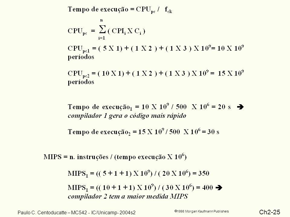 Ch2-25 1998 Morgan Kaufmann Publishers Paulo C. Centoducatte – MC542 - IC/Unicamp- 2004s2
