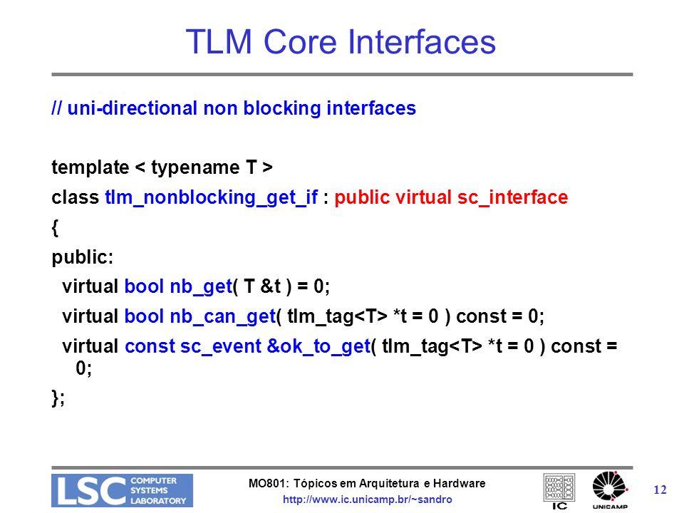MO801: Tópicos em Arquitetura e Hardware http://www.ic.unicamp.br/~sandro 12 TLM Core Interfaces // uni-directional non blocking interfaces template c