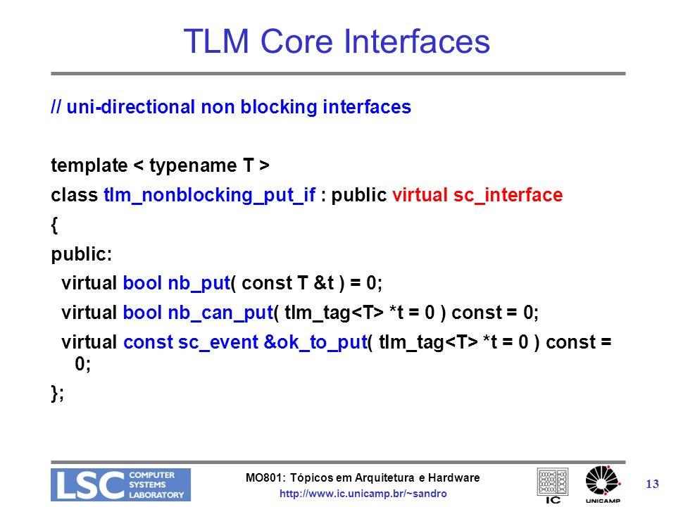 MO801: Tópicos em Arquitetura e Hardware http://www.ic.unicamp.br/~sandro 13 TLM Core Interfaces // uni-directional non blocking interfaces template c