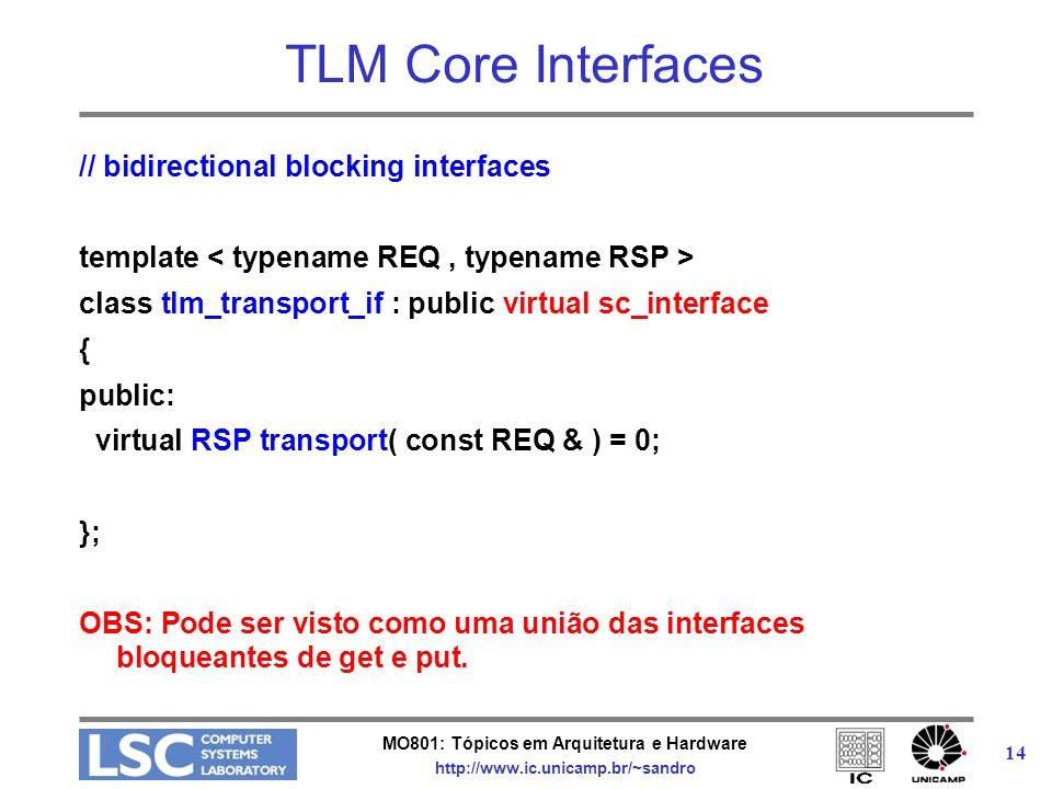 MO801: Tópicos em Arquitetura e Hardware http://www.ic.unicamp.br/~sandro 14 TLM Core Interfaces // bidirectional blocking interfaces template class t