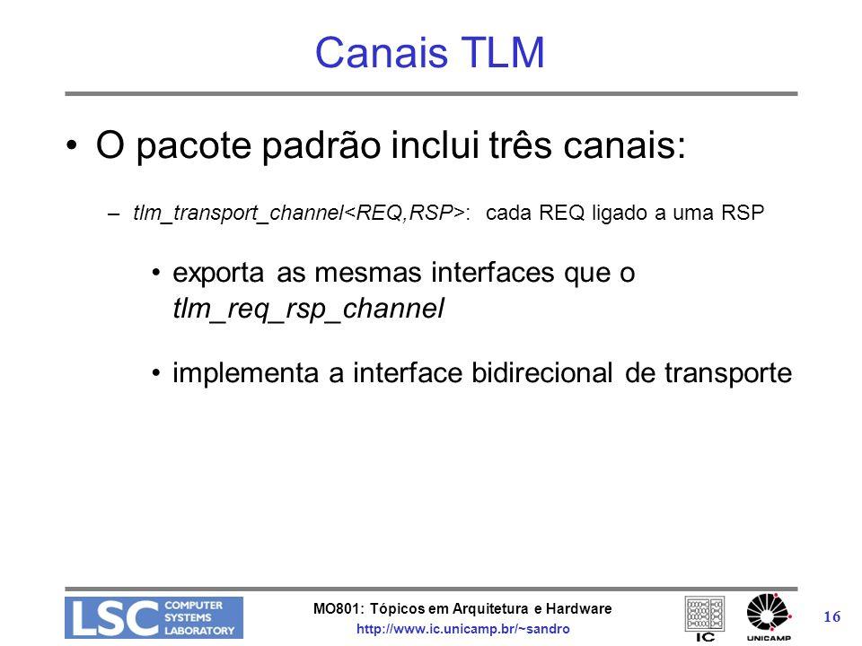 MO801: Tópicos em Arquitetura e Hardware http://www.ic.unicamp.br/~sandro 16 Canais TLM O pacote padrão inclui três canais: –tlm_transport_channel : c