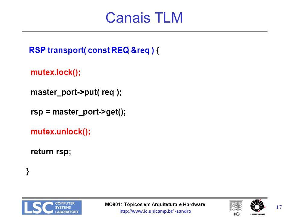 MO801: Tópicos em Arquitetura e Hardware http://www.ic.unicamp.br/~sandro 17 Canais TLM RSP transport( const REQ &req ) { mutex.lock(); master_port->p