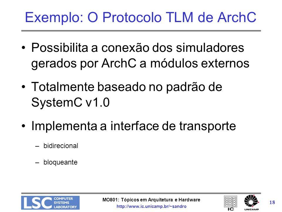 MO801: Tópicos em Arquitetura e Hardware http://www.ic.unicamp.br/~sandro 18 Exemplo: O Protocolo TLM de ArchC Possibilita a conexão dos simuladores g