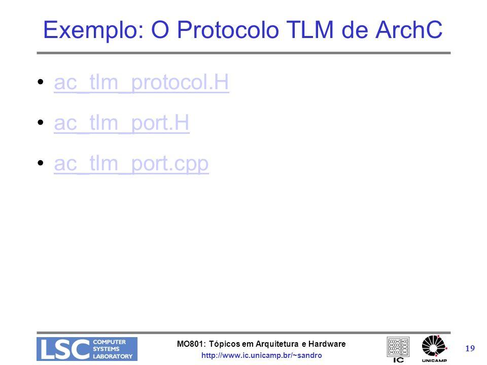 MO801: Tópicos em Arquitetura e Hardware http://www.ic.unicamp.br/~sandro 19 Exemplo: O Protocolo TLM de ArchC ac_tlm_protocol.H ac_tlm_port.H ac_tlm_